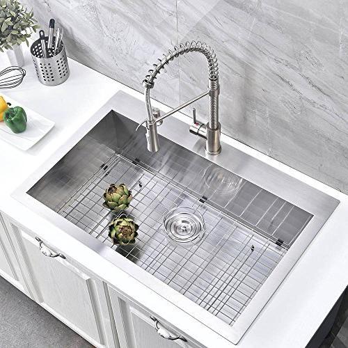 "Friho 22"" 18 Gauge Topmount Drop-in Basin SUS304 Steel Kitchen Nickel Kitchen Sinks Dish Grid Basket"