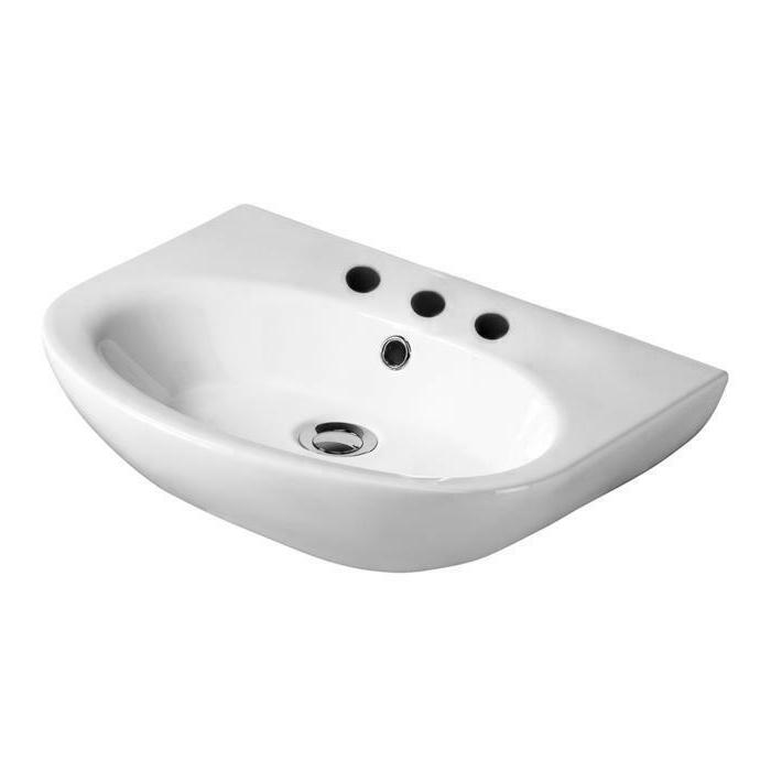 """Barclay Infinity Wall-Hung Basin Sink, 8"""" Widespread Faucet,"""