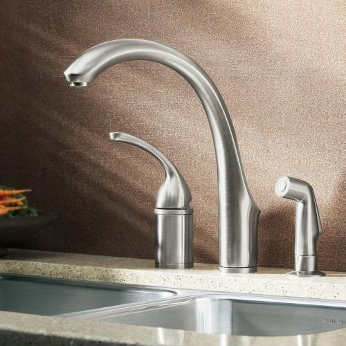 KOHLER Forte Single Control Valve Kitchen Sink Faucet and Lever Handle, Brushed Nickel