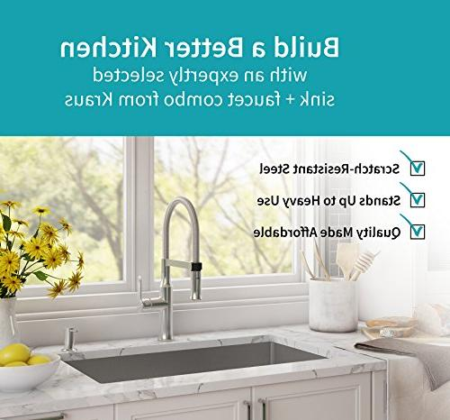 Kraus KHU100-30-1640-42CH Handmade Undermount Stainless Steel 30 16 Gauge Sink Handle Flex Faucet with Soap in