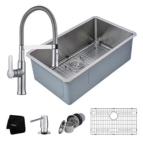 Kraus Handmade Stainless 30 Sink and Nola Handle Faucet in Chrome