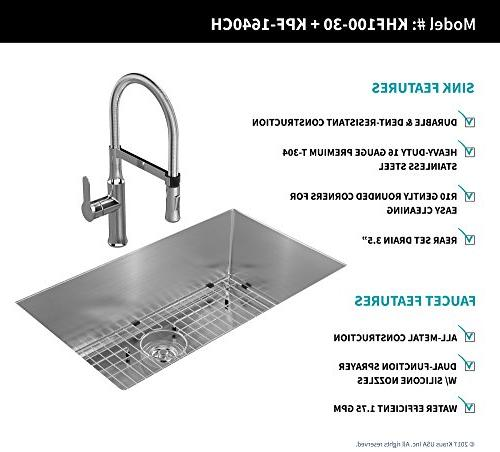 Kraus KHU100-30-1640-42CH Combo Handmade Undermount Stainless 30 Gauge Sink Single Handle Flex Faucet with in Chrome