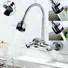 Kitchen Basin Wall Mounted Faucet Swivel Spout 2 Handle Sink