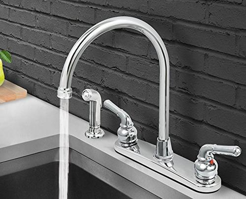 Everflow Kitchen Faucet with Arc Swivel Spout, Finish, Lead-Free Construction, Out Side Spray Hose, 2 Metal 2.2 Flow Rate Use