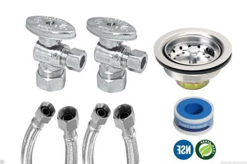"""KITCHEN FAUCET INSTALLATION KIT LEAD FREE WITH 20"""" SUPPLY LI"""