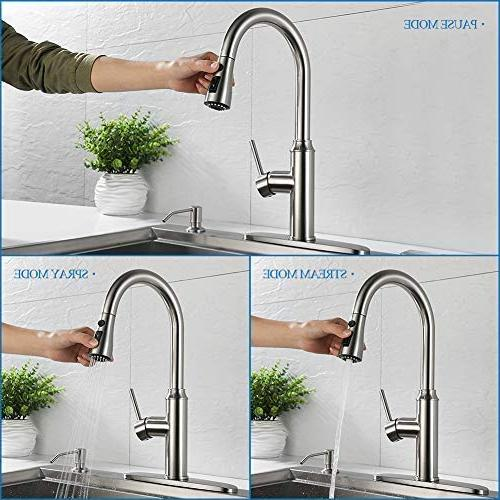 Kitchen pull down-Arofa A01LY single hole handle high arc nickel kitchen faucets with sprayer