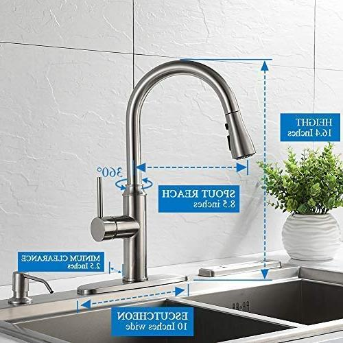 Kitchen pull down-Arofa A01LY modern hole handle arc stainless nickel sink faucets with pull