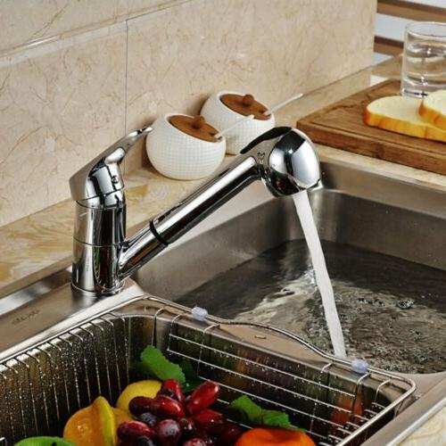 Kitchen Swivel Brass Faucet Pull Out Sprayer Sink One Hole D