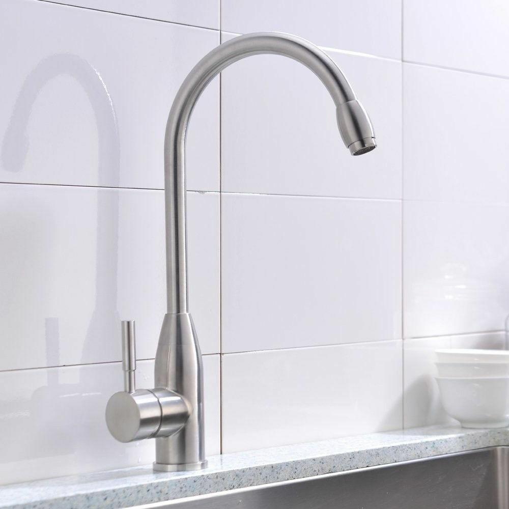 Hotis Home Kitchen Single Handle/Hole Brushed Stainless NEW