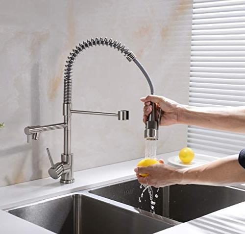 Avola Handle Solid Brass Faucets with Sprayer, Nickel
