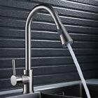 Kitchen Sink Mixer Taps Pull Out Hose Spray Monobloc Brushed