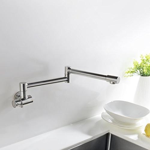 Avola Kitchen Pot Filler Mount, Brushed Nickel Steel Specific Faucet