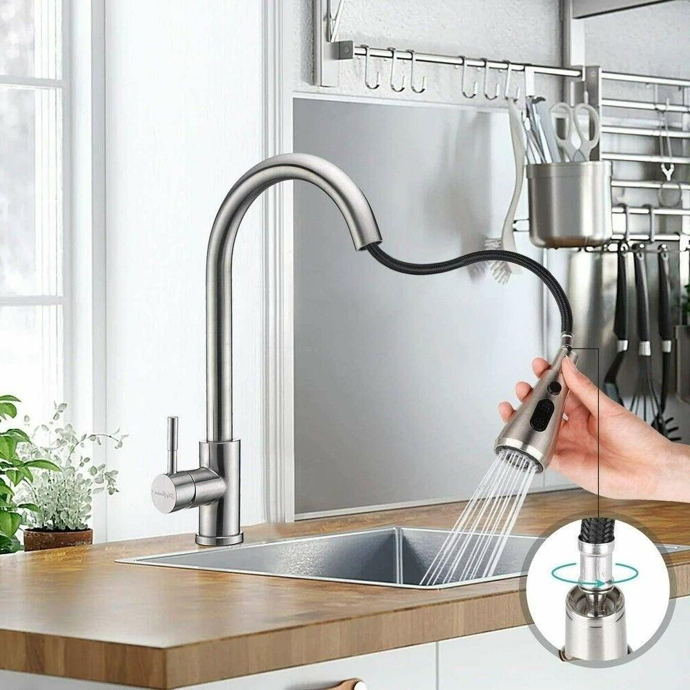 Kitchen Sink Stainless Faucet Single Hole Brushed Nickel