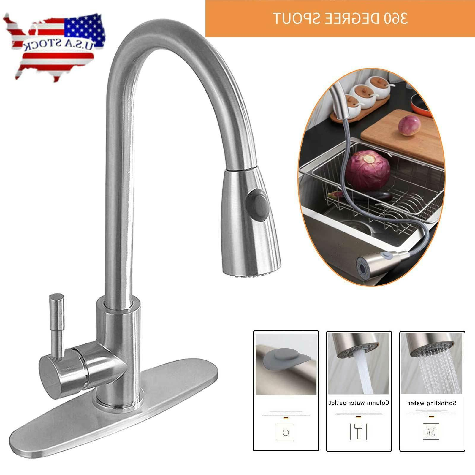kitchen stainless steel commercial single handle brushed