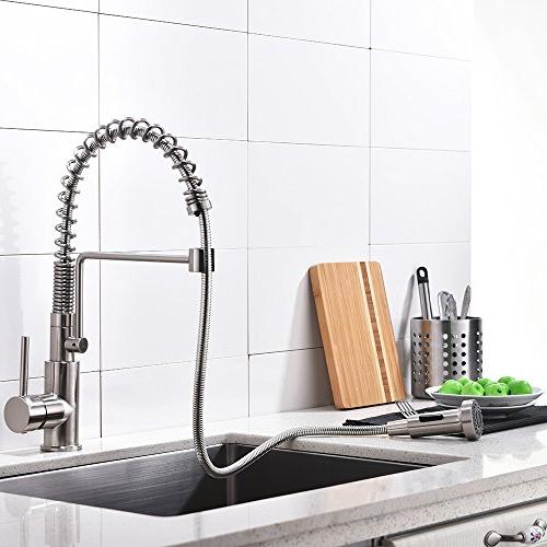 Friho Commercial Brushed Nickel Steel Handle Lever Pull Out Spring Kitchen Sink Faucet, Brushed Kitchen