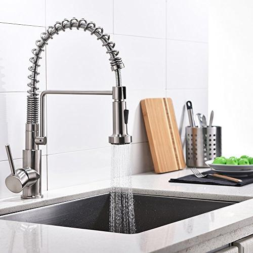 Friho Lead-Free Brushed Nickel Stainless Steel Single Handle Single Lever Out Pull Sprayer Spring Kitchen Brushed Nickel Faucets