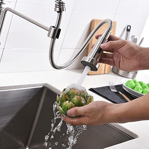 Friho Lead-Free Brushed Nickel Handle Pull Out Down Spring Sink Brushed Nickel Kitchen Faucets