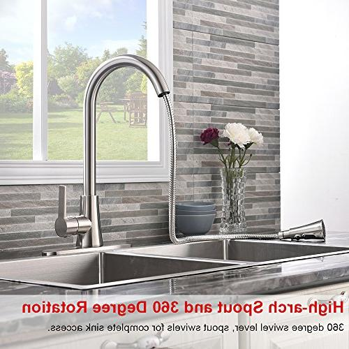 VALISY Lead-Free Stainless Steel High-Arch Single Pull Sprayer Kitchen Faucet with Plate
