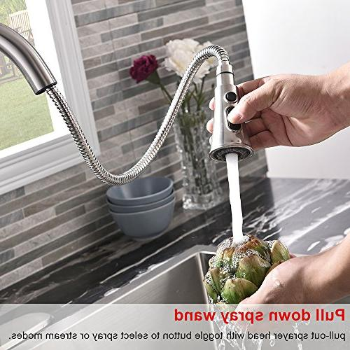 VALISY Steel Single Handle Pull Sprayer Faucets, Kitchen with Plate