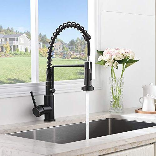 Friho Commercial Rubbed Single Handle Pull Pull Sprayer Spring Kitchen Faucet, Oil Bronze Kitchen