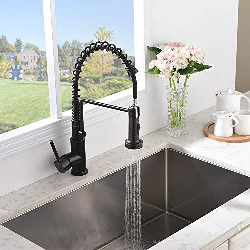 Friho Lead-Free Commercial Oil Rubbed Bronze Steel Single Single Lever Pull Out Sprayer Spring Kitchen Faucet, Kitchen