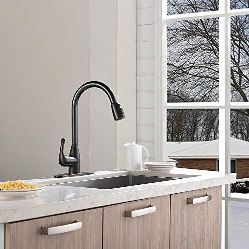 VALISY Stainless Single Single Lever Pull Pull Down Oil Rubbed Kitchen Sink Faucet with