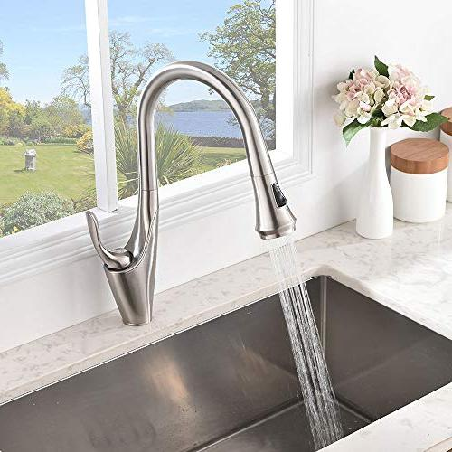 Friho Lead-Free Modern Brushed Nickel Stainless Single Handle Lever Pull Out Faucet, Nickel Faucets