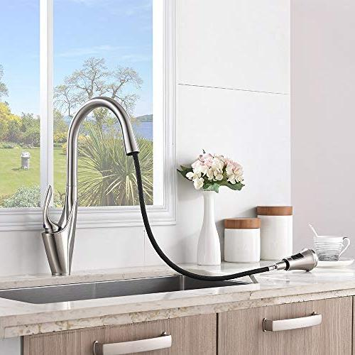 Friho Brushed Nickel Stainless Single Pull Out Sprayer Spring Kitchen Faucet, Brushed Nickel Kitchen Faucets