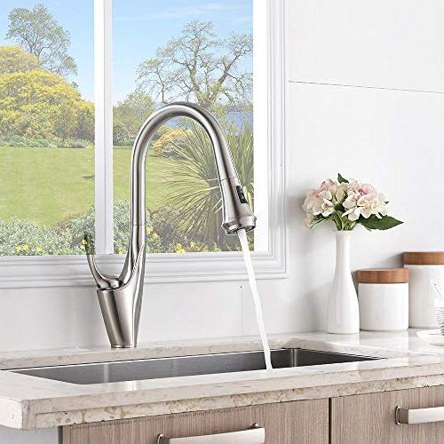 Friho Brushed Single Pull Sprayer Faucet, Kitchen Faucets