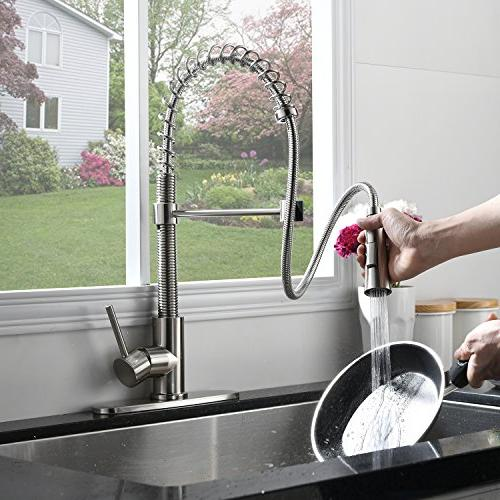 KINGO Free Modern Stainless Handle Pull Down Spring Faucet, Kitchen with Plate