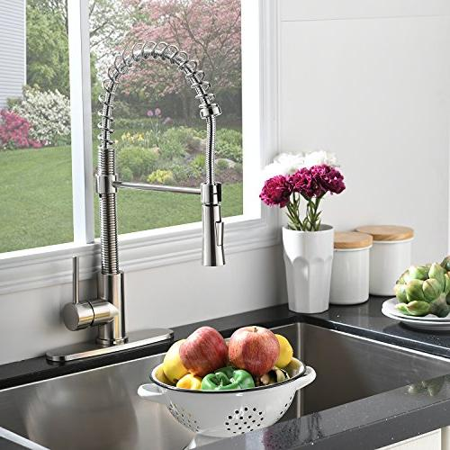 KINGO HOME Free Modern Handle Spring Nickel Faucet, with