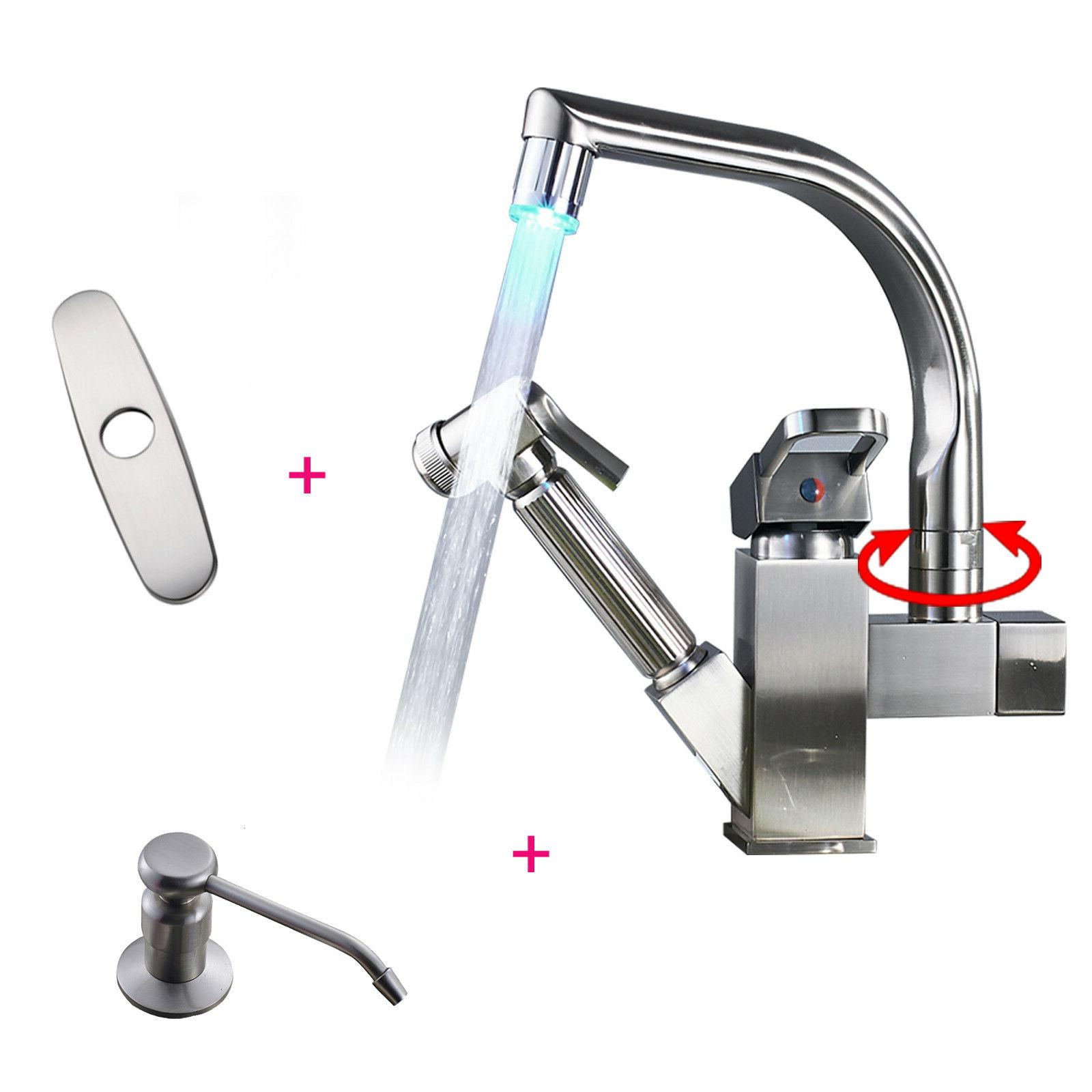 LED Swivel Kitchen Sink Faucet Brushed Nickel Pull Out Spray