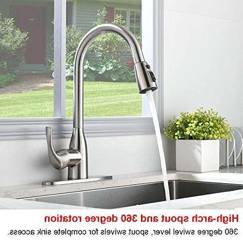 VALISY Lead-free Brushed Single Handle Pull Sprayer Sink Faucet, With Deck Plate