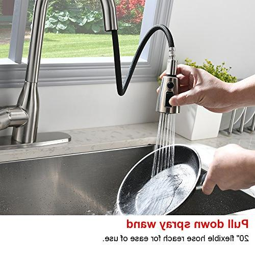 VALISY Lead-free Commercial Brushed Nickel Stainless Single Down Sprayer Pull Kitchen With Deck