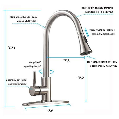 KINGO Lead Free Stainless Steel Lever Handle Brushed Nickel Kitchen Kitchen Sink Faucet Deck