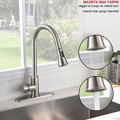 KINGO Commercial Lead Free Arc Stainless Steel Single Handle Brushed Nickel Kitchen Kitchen Deck