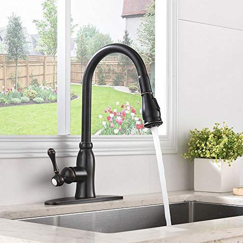 Friho Stainless Handle High Pull Down Sprayer Kitchen Faucet,Oil Pull Out Kitchen Faucets Deck