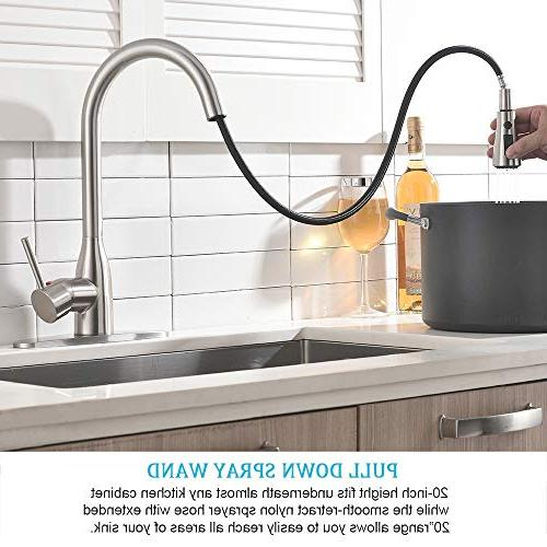 Ufaucet Pause Botton Pull Sprayer Kitchen Faucet, Kitchen With