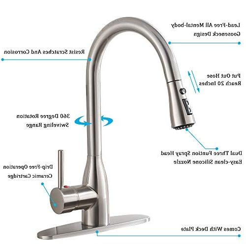 Ufaucet Modern Solid Brass Pause Botton Sprayer Brushed Nickel Faucet, Sink Faucet With Deck