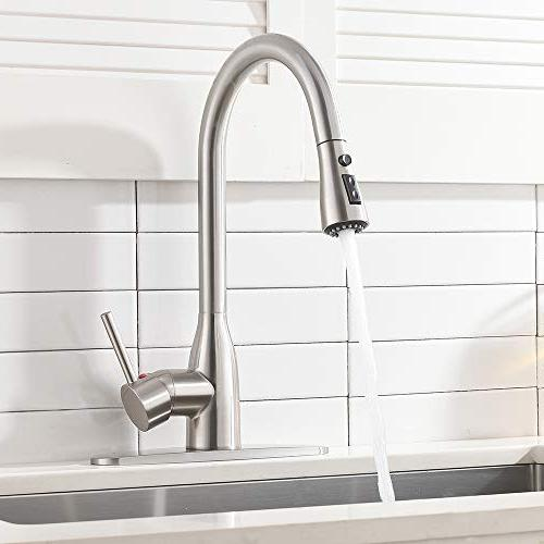 Ufaucet Commercial Solid Single Pause Botton Sprayer Brushed Faucet, Kitchen Faucet With Deck