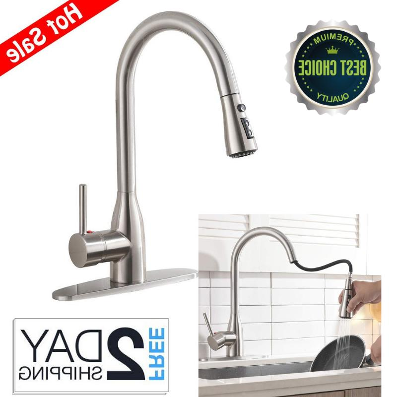 Ufaucet Solid Brass Single Lever Pause Botton Pull Out Sprayer Nickel Faucet, With Deck Plate
