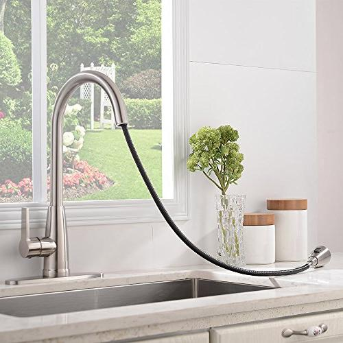 Friho Commercial Lead-Free Stainless Steel Handle High Arc Pull Down Faucet,Brushed Kitchen Plate