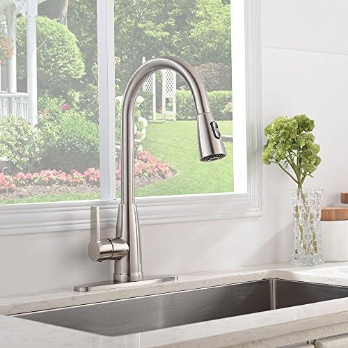 Stainless Single Handle High Down Sprayer Faucet,Brushed Kitchen Deck Plate