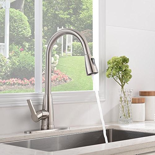 Friho Stainless Steel Single Handle Arc Down Kitchen Faucets Plate