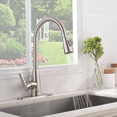 Stainless Single Handle High Arc Pull Down Sprayer Sink Faucet,Brushed Nickel Kitchen With Plate