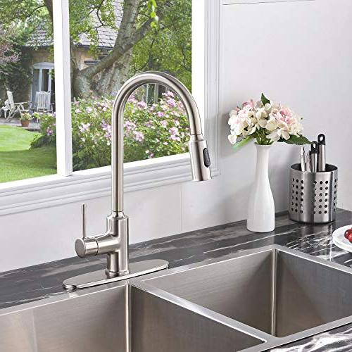 KINGO Modern Commercial Lead Stainless Steel Single Handle Down Nickel Kitchen Kitchen Faucet With