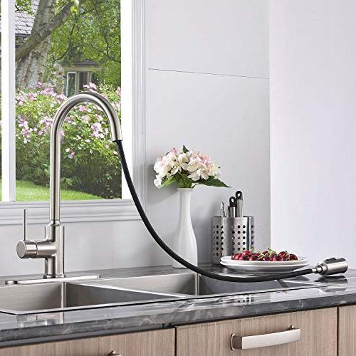 KINGO Lead Single Lever Down Brushed Nickel Kitchen Faucet, Faucet Deck