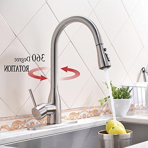 VESLA HOME Modern Stainless Single Pause Sprayer, Sink Plate, Nickel-12