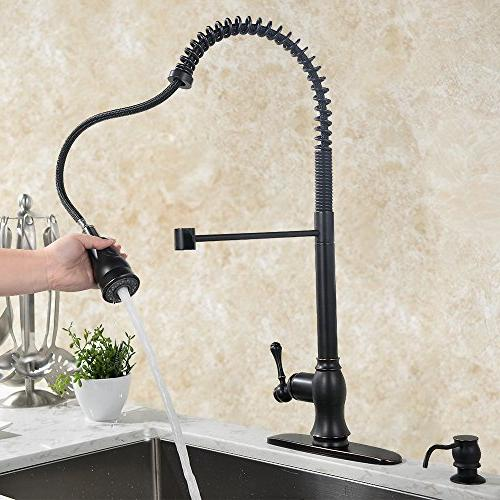 VAPSINT One Single Lever Sprayer Pull Down Stainless Pre Rinse Pull Out Oil Rubbed Bronze Faucet, Kitchen Sink Faucet