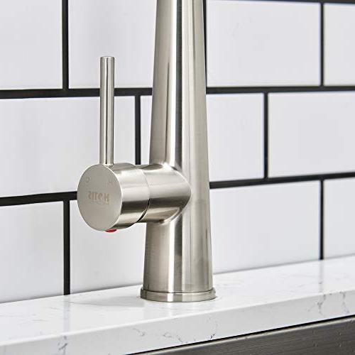 Hotis Modern degree Swivel Out Single Stainless Steel Pull Down Prep Kitchen Faucet, Nickel